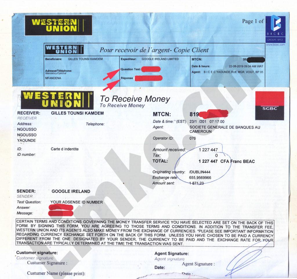 Google Adsense Western Union Receipt