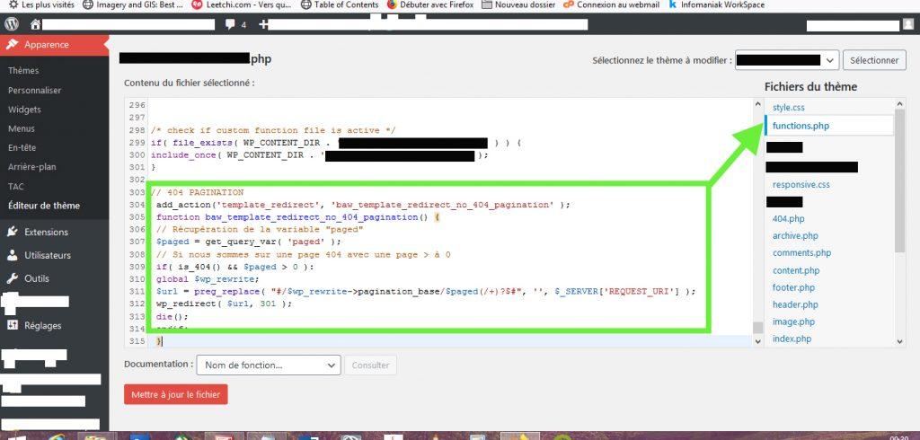 Réglages de la pagination erreur 404 avec du code